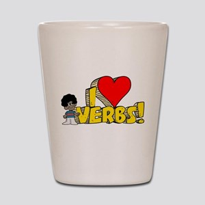 I Heart Verbs - Schoolhouse R Shot Glass