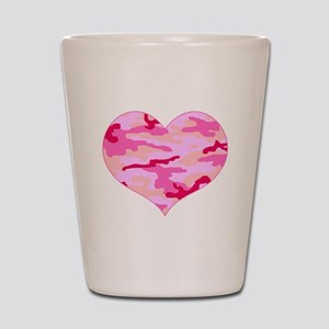 Pink Camo Heart Shot Glass