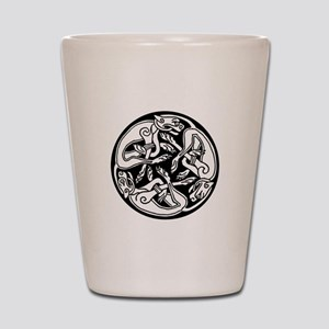 Round Celtic Dogs Shot Glass
