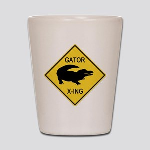 Alligator Crossing Sign Shot Glass