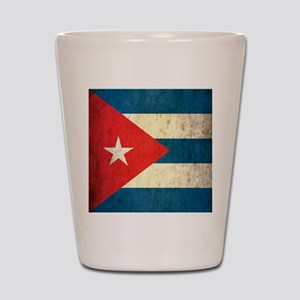 Grunge Cuba Flag Shot Glass