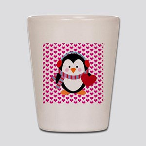 Valentines Day Penguin Shot Glass