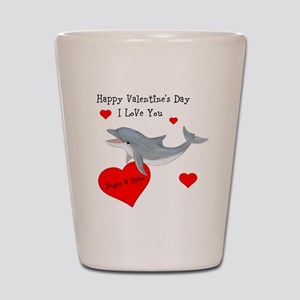 Personalized Dolphin Valentine Shot Glass