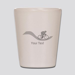 Cyclist in Gray. Custom Text. Shot Glass
