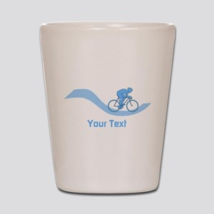 Cyclist in Blue. Custom Text. Shot Glass