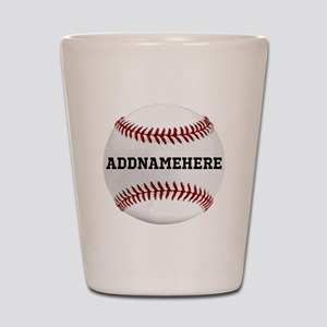 Personalized Baseball Red/White Shot Glass