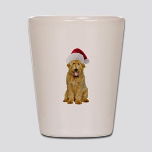 Goldendoodle Santa Shot Glass