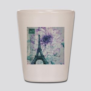 floral paris eiffel tower butterfly Shot Glass