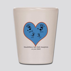 Personalized handprints 4 grandkids Shot Glass