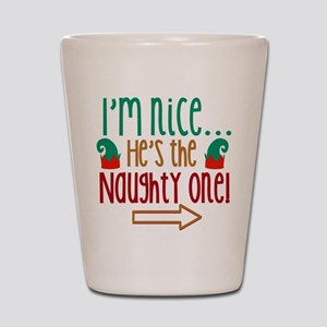 Im Nice Hes Naughty Elf Hat Shot Glass
