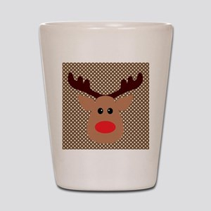 Red Nosed Reindeer on Polka Dots Shot Glass