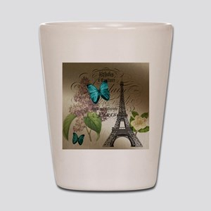 paris lilac butterfly eiffel tower Shot Glass