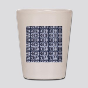 Blue Greek Key Pattern Shot Glass