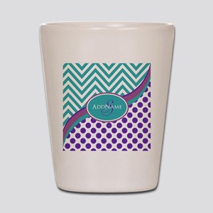 Teal Violet Chevron Dots Personalized Shot Glass