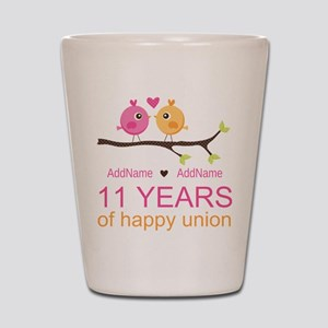 11th Anniversary Personalized Shot Glass