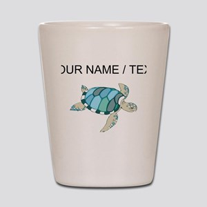 Custom Blue Sea Turtle Shot Glass