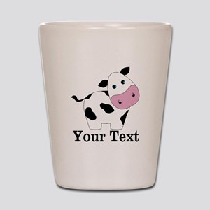 Personalizable Black White Cow Shot Glass
