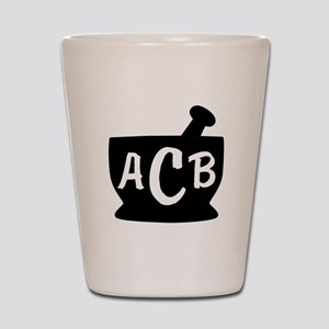 Black Monogram Mortar and Pestle Shot Glass