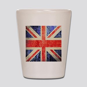 Grungy UK flag Shot Glass