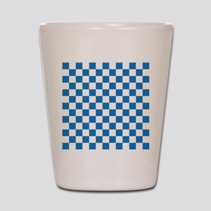 BLUE AND WHITE Checkered Pattern Shot Glass