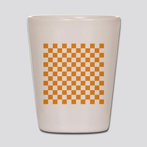 ORANGE AND WHITE Checkered Pattern Shot Glass