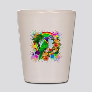 Rainbow Lorikeet Parrot Art Shot Glass