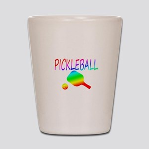 Pickleball with ball and paddle sport Shot Glass