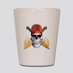 Flaming Chef Skull Shot Glass