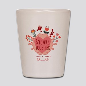 Personalized 6th Anniversary Shot Glass