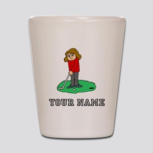 Girl Golfing (Add Name) Shot Glass