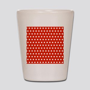 Red and White Polka Dots Shot Glass