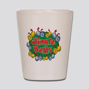 Christmas Cartoon Jingle Bells Text Des Shot Glass