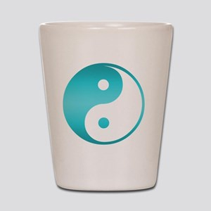 Yin Yang Asian Symbol in Teal Blue Grad Shot Glass