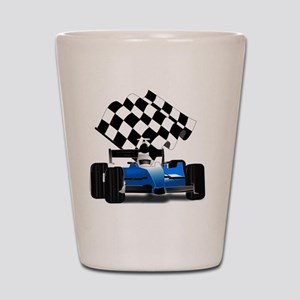Blue Race Car with Checkered Flag  Shot Glass