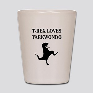 T-Rex Loves Taekwondo  Shot Glass