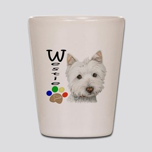 Westie Dog and Paw Print Design Shot Glass