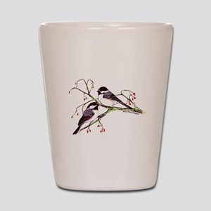 Male and Female Chickadees Shot Glass