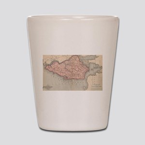 Vintage Map of Staten Island New York ( Shot Glass