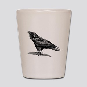 Vintage Raven Crow Black Bird Black Whi Shot Glass
