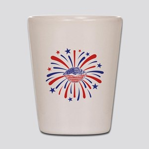 4th of July Fireworks American Lips Fou Shot Glass