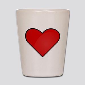 Red Heart Drawing Shot Glass