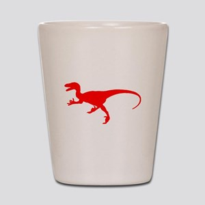 Velociraptor Silhouette (Red) Shot Glass