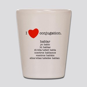 I heart conjugation Shot Glass