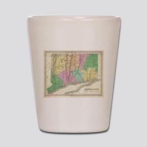 Vintage Map of Connecticut (1827) Shot Glass