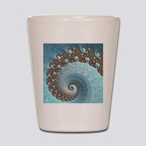 Fractal Blue Brown Abstract Shot Glass