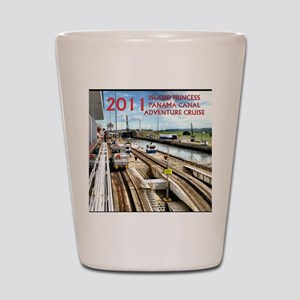 Panama Canal - rect. photo- black edge Shot Glass