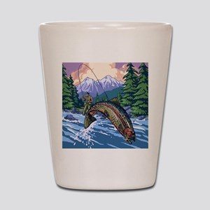 Mountain Trout Fisherman Shot Glass