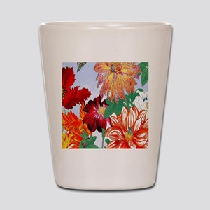 Dazzlin' Tulips, Dahlias, B'flies Shot Glass