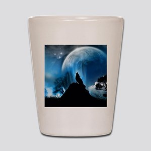 Wolf Howling At The Moon Shot Glass