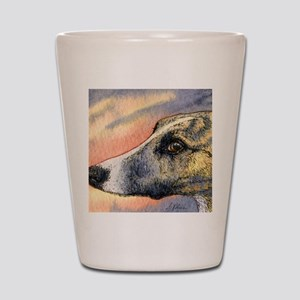 Brindle whippet greyhound dog Shot Glass